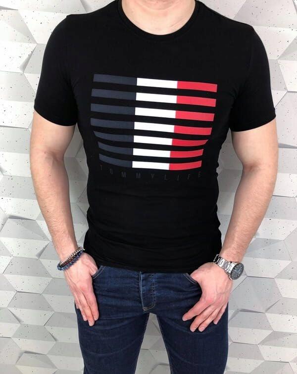 Czarny meski T-shirt Tommy life w paski - S
