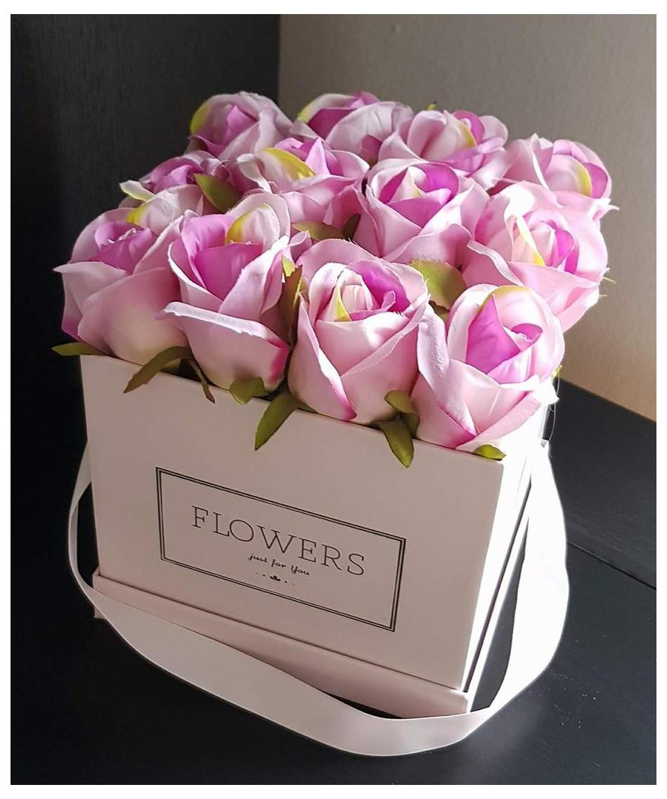 Flower Box Bukiet Róże Różowe W Pudełku Prezent 7186889735