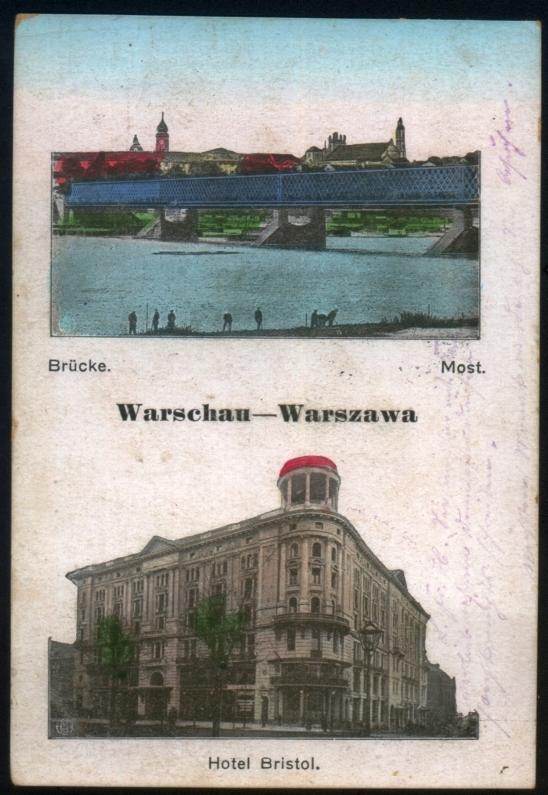 Warszawa Most i Hotel Bristol przedwojenna pocztów