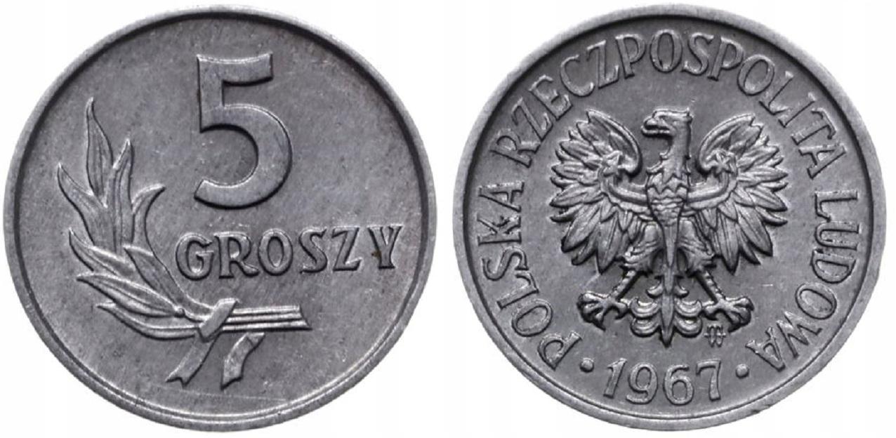5 gr groszy 1967 mennicze st. 1