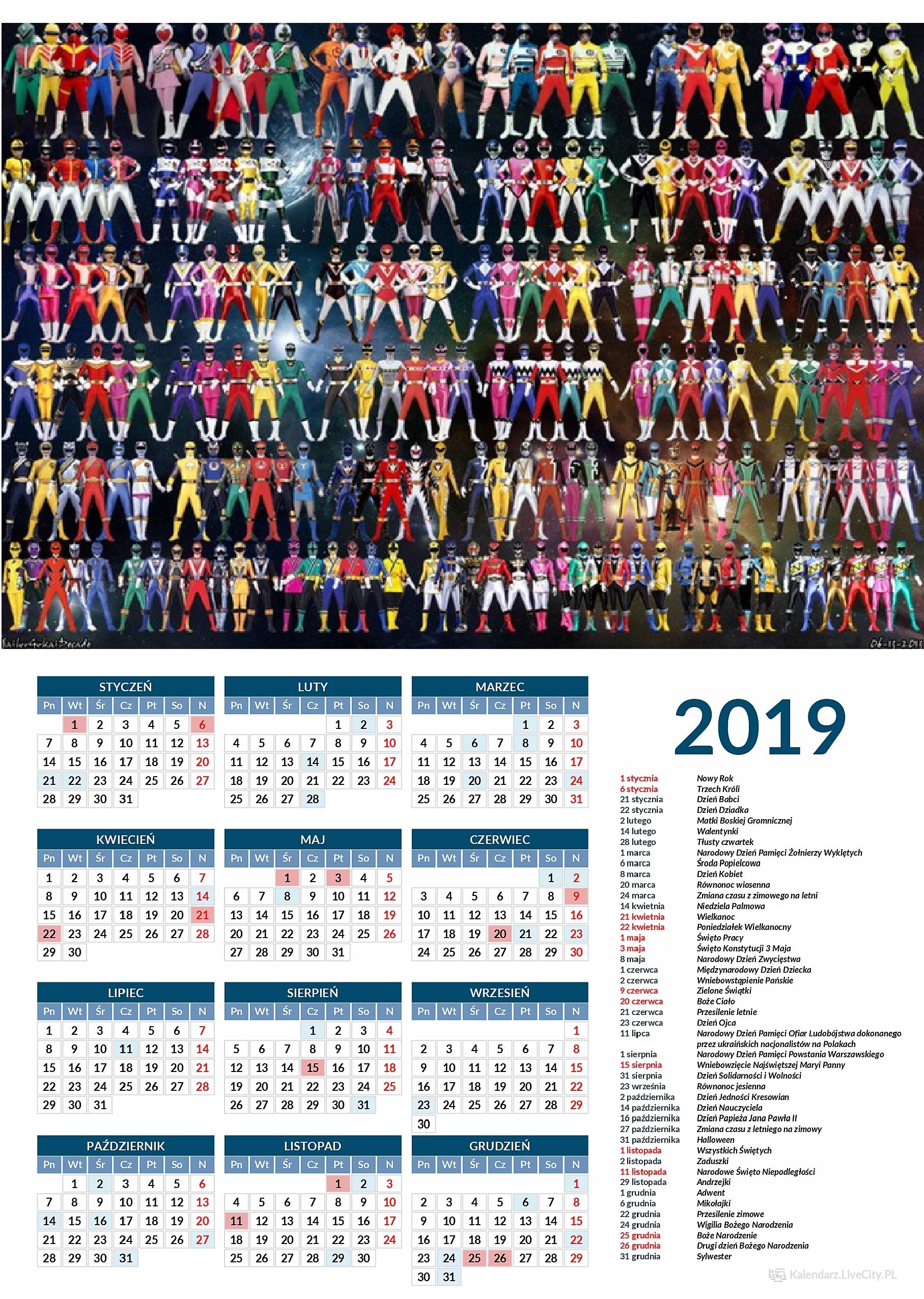 Kalendarz 2019 GRA POWER RANGERS WSZYSTKIE POSTACI