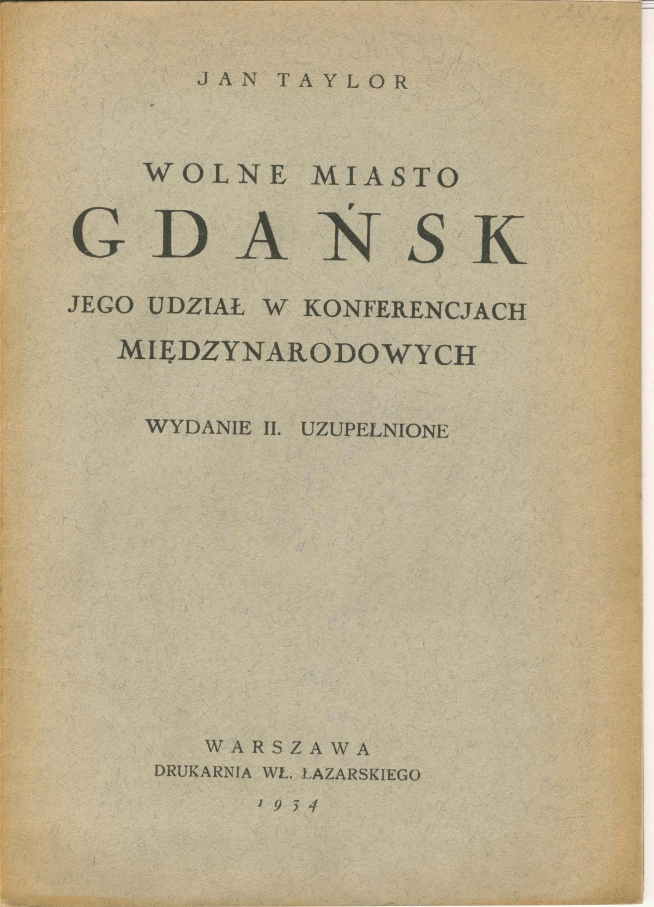 Taylor - Wolne Miasto Gdańsk, sprawy zagraniczne