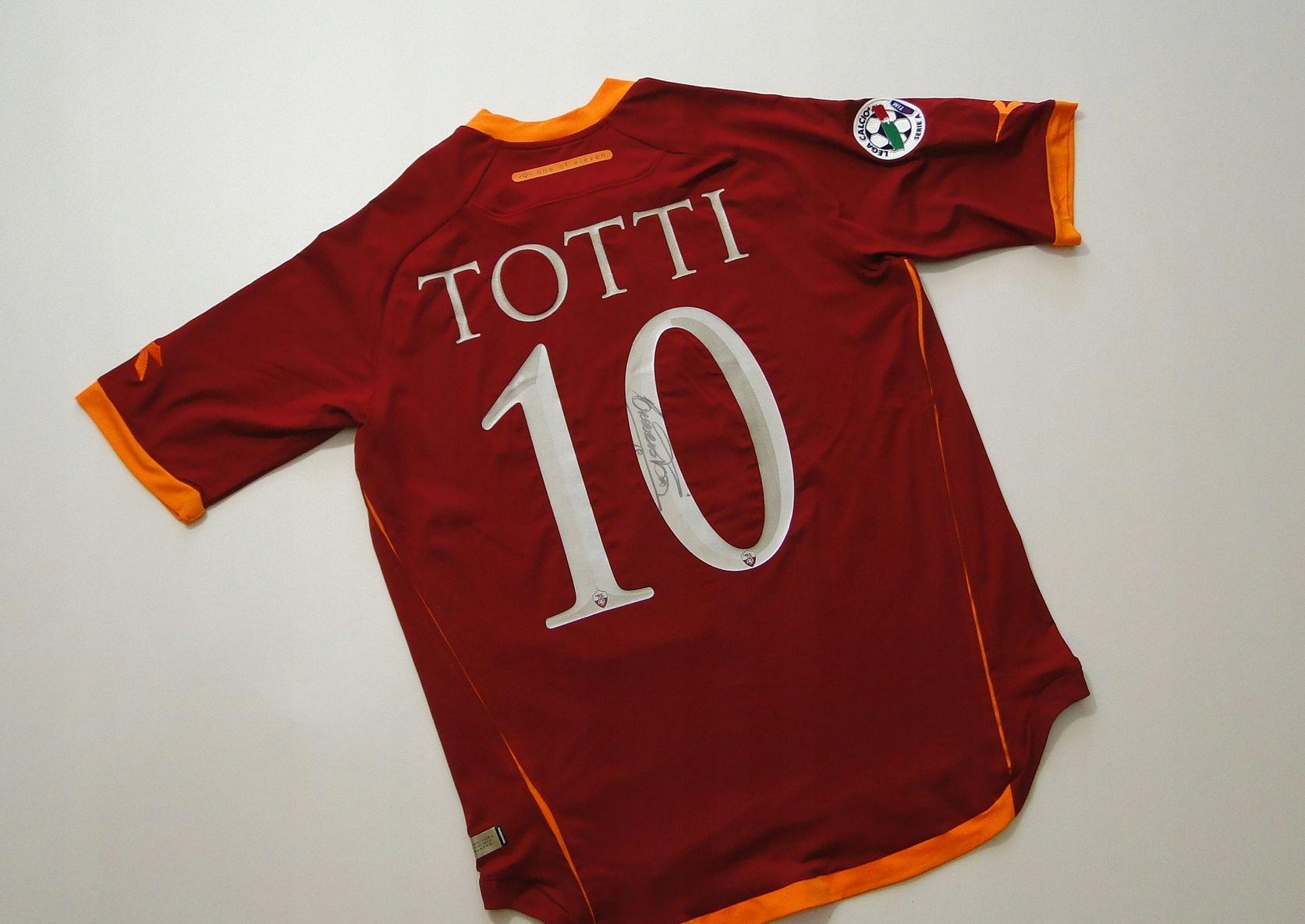 AS ROMA Totti + AUTOGRAF Oryginalna 100% Koszulka