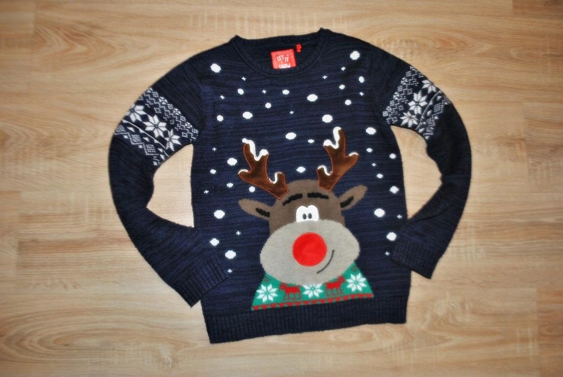 TU świąteczny sweterek RENIFEREK 152 BDB