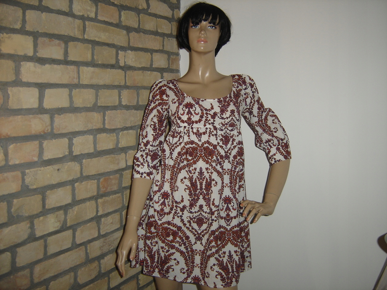 TOPSHOP biała sukienka we wzorki paisley orient 38