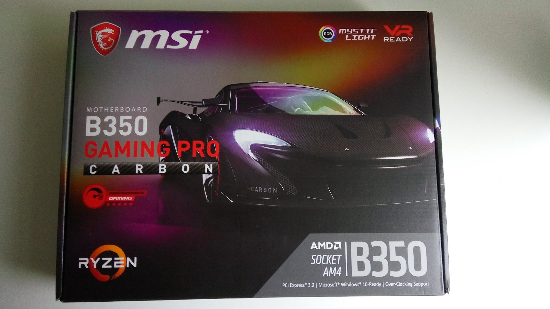 MSI B350 GAMING PRO CARBON OD 1ZL AM4 Ryzen