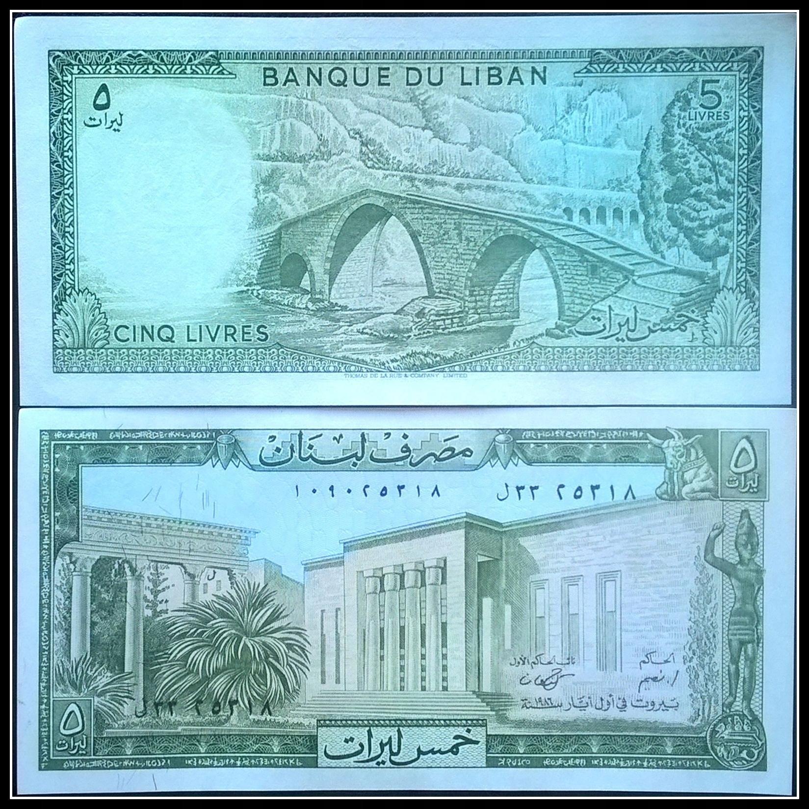 Banknot Liban 5 Livres 1986r. UNC