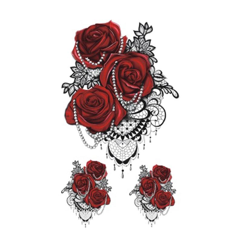 Tatuaż Zmywalny Elegancka Czerwona Róża 7172003052