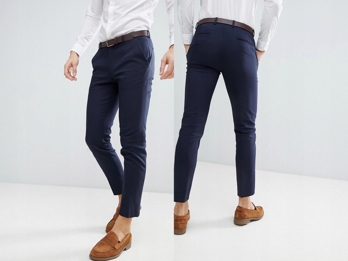 Granatowe spodnie garniturowe 30/32