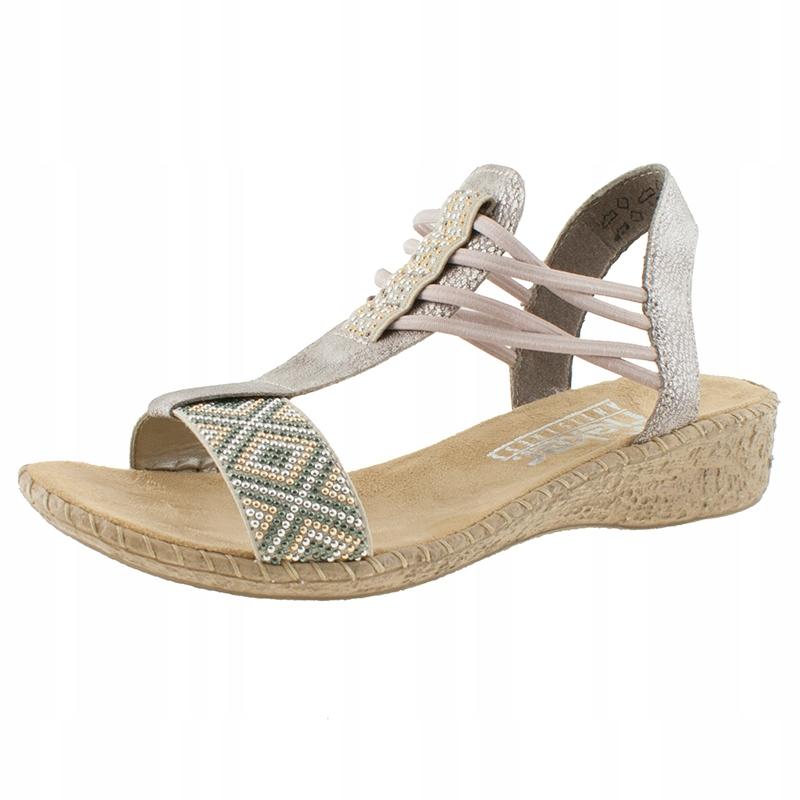 Damskie sandały na koturnie Rieker gumki 40