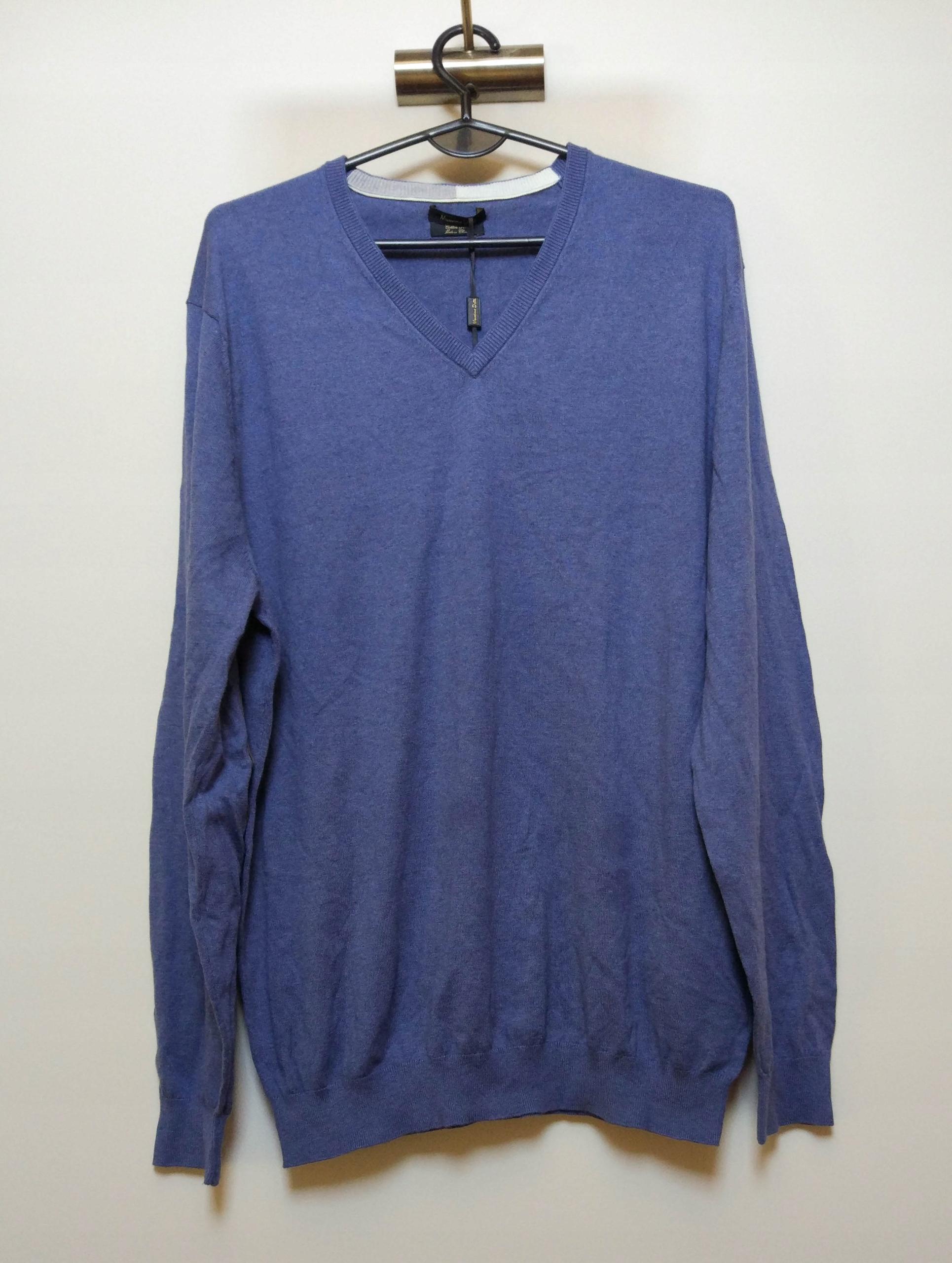 MASSIMO DUTTI niebieski sweter serek łaty XXL