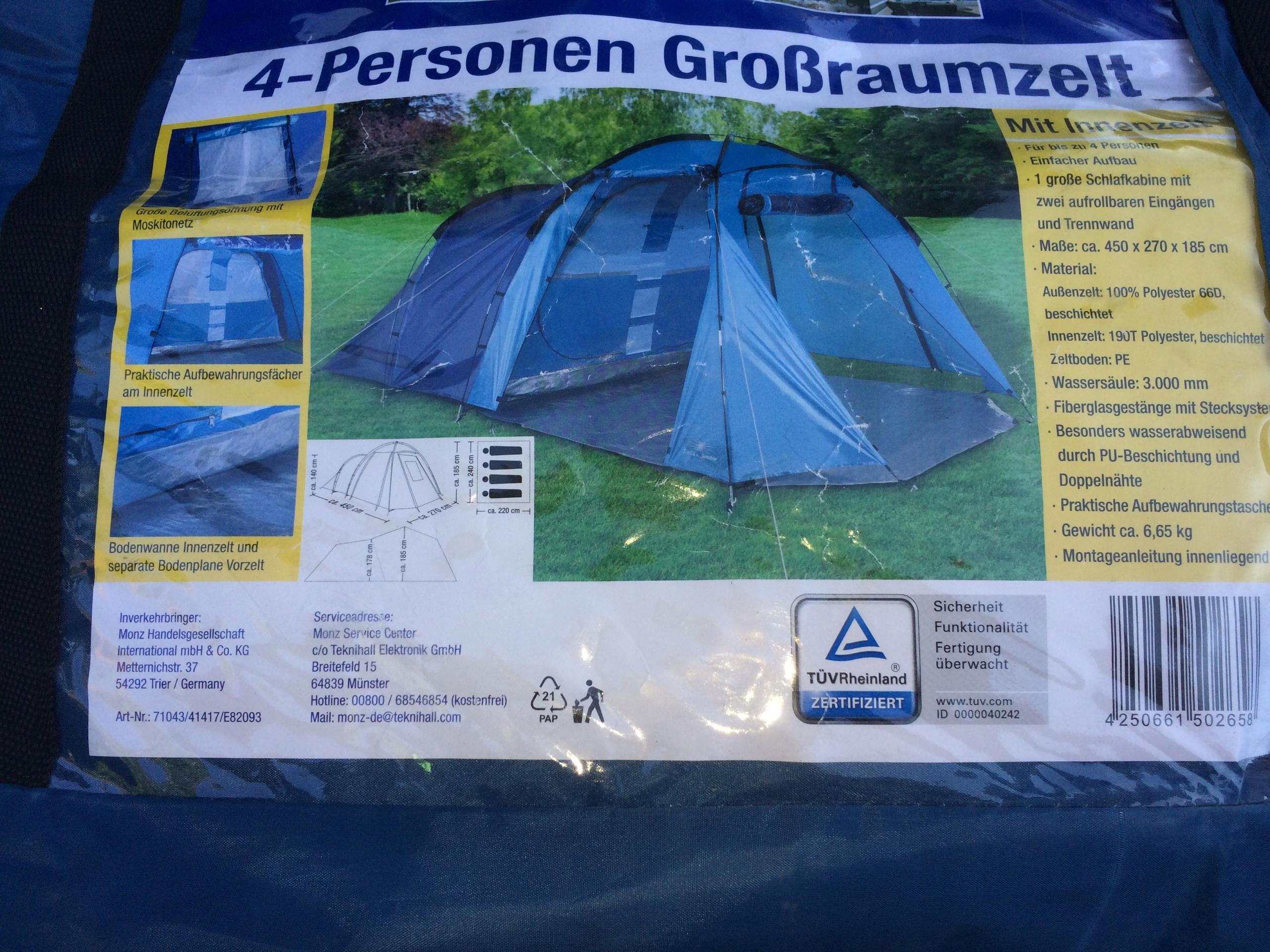 Nowy namiot cztero-osobowy 4 osobowy 4,5m x 2,7m
