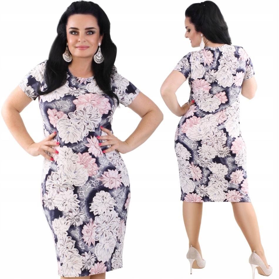 P40 Zwiewna letnia sukienka XXL w KWIATY R50