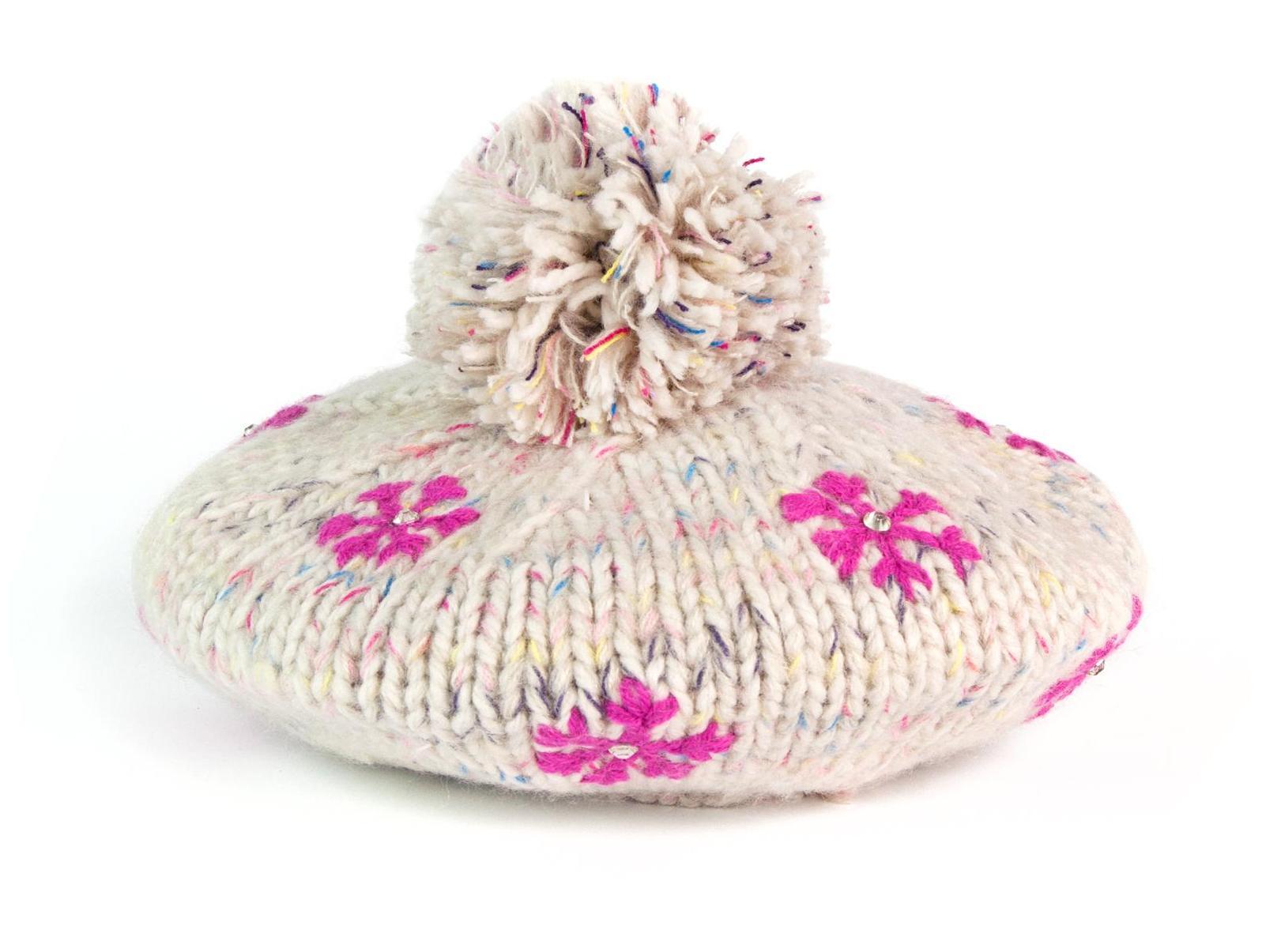 Szaleo czapka-beret w śnieżynki cz2701-1