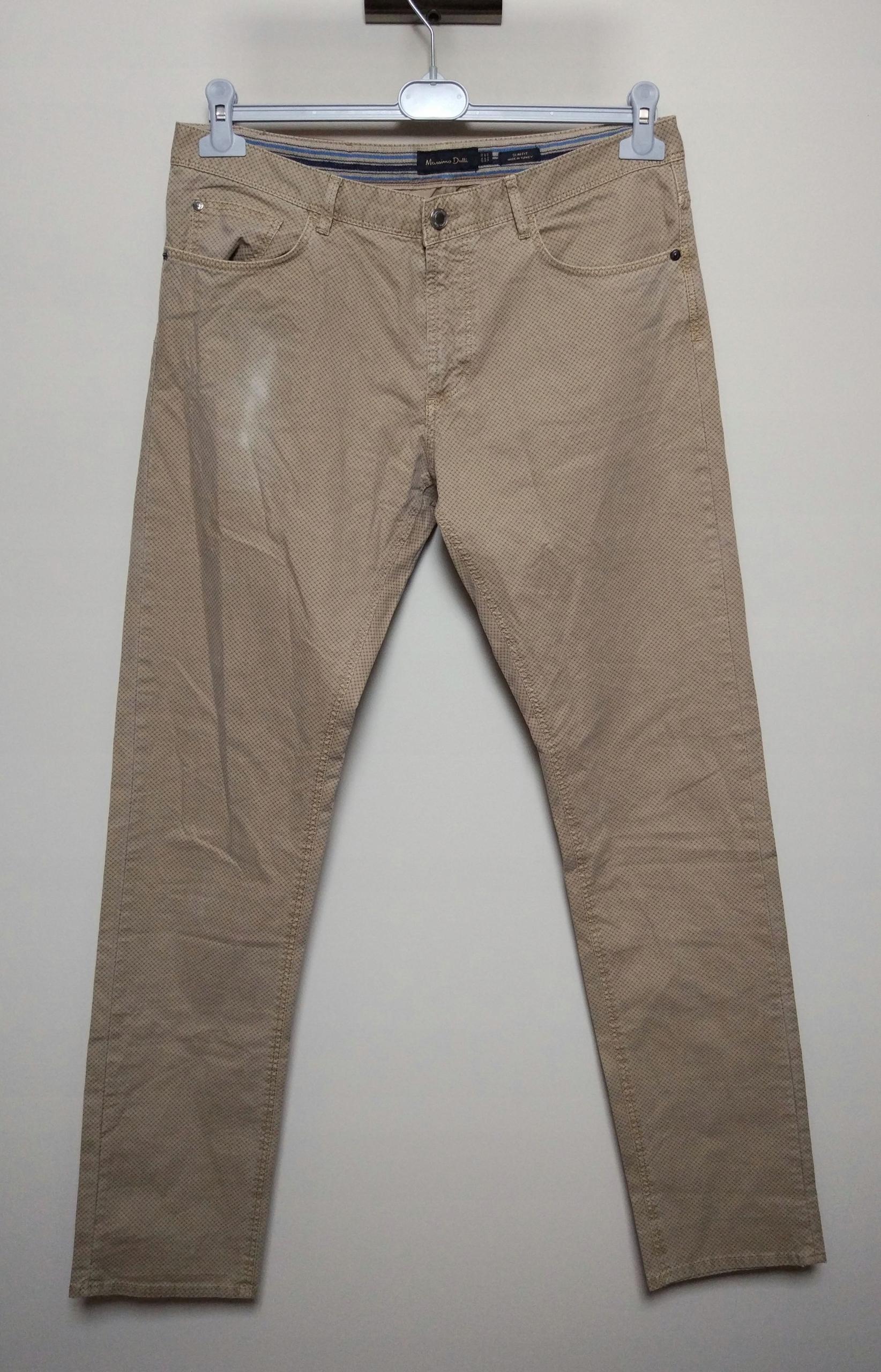 MASSIMO DUTTI beżowe spodnie wzór slim fit 42