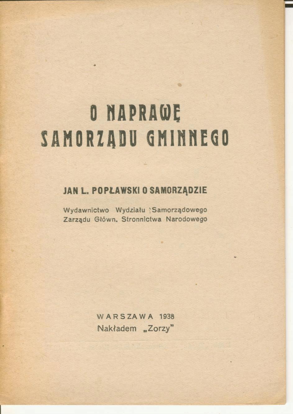 J.Popławski - O Samorządzie, Stronnictwo Narodowe