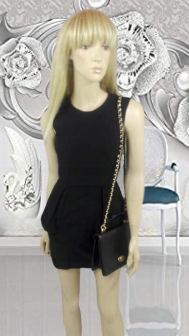 H&M czarna sukienka z delikatną baskinką XS