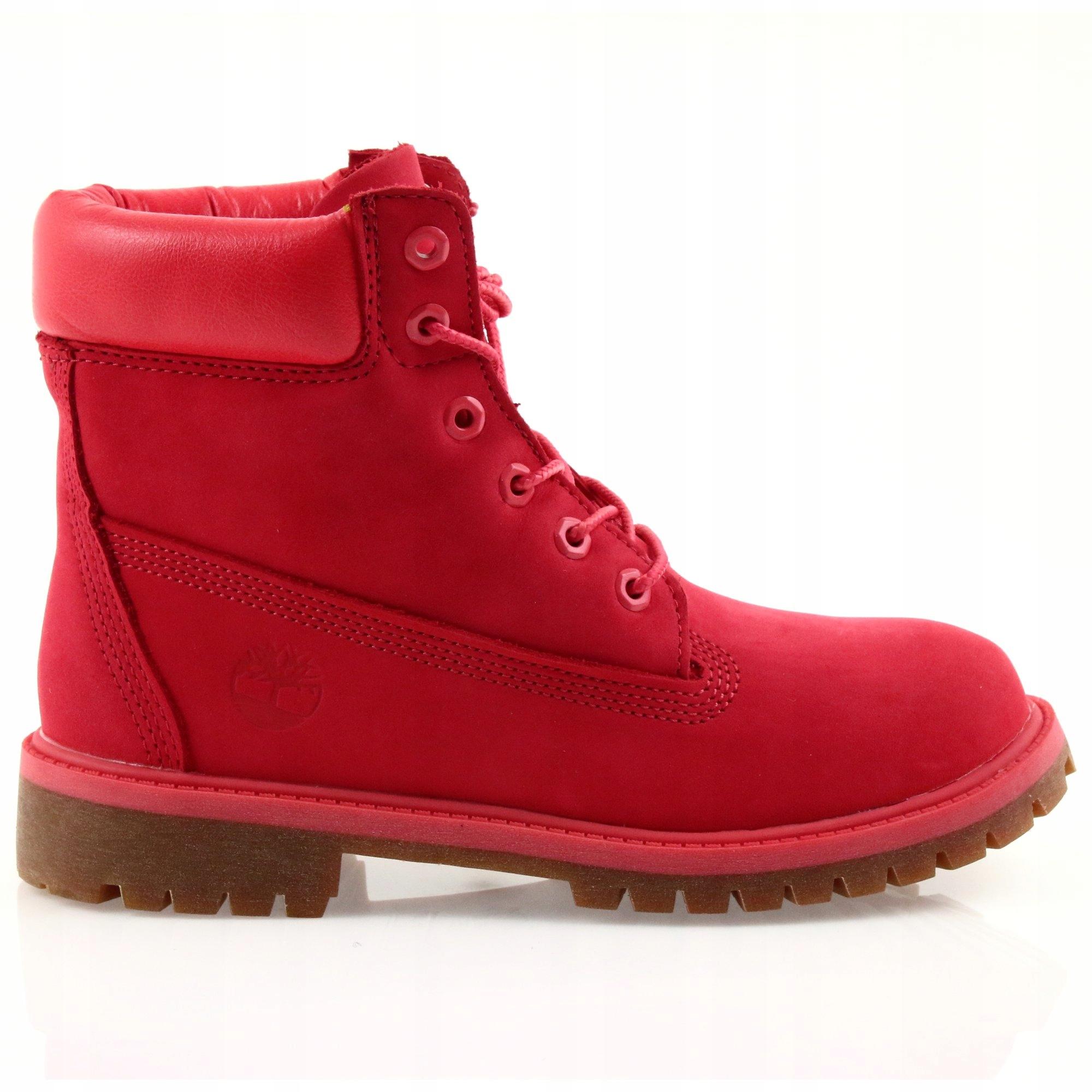 Czerwone Nubukowe Buty Glany Timberland r.36