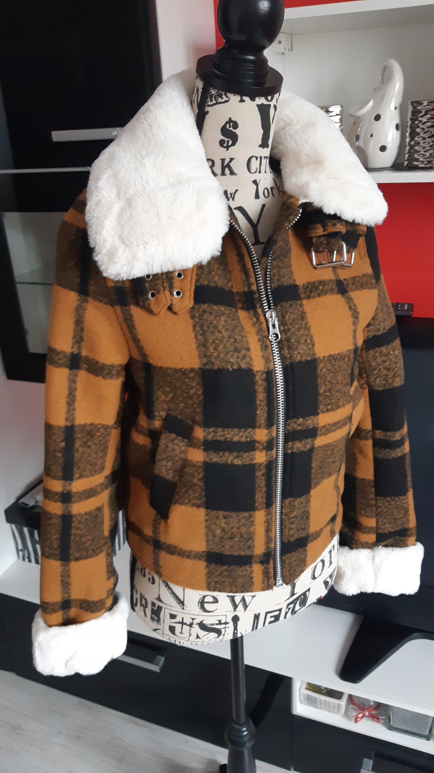 H&M miodowy kożuszek kratka futerko XS 34 NOWY
