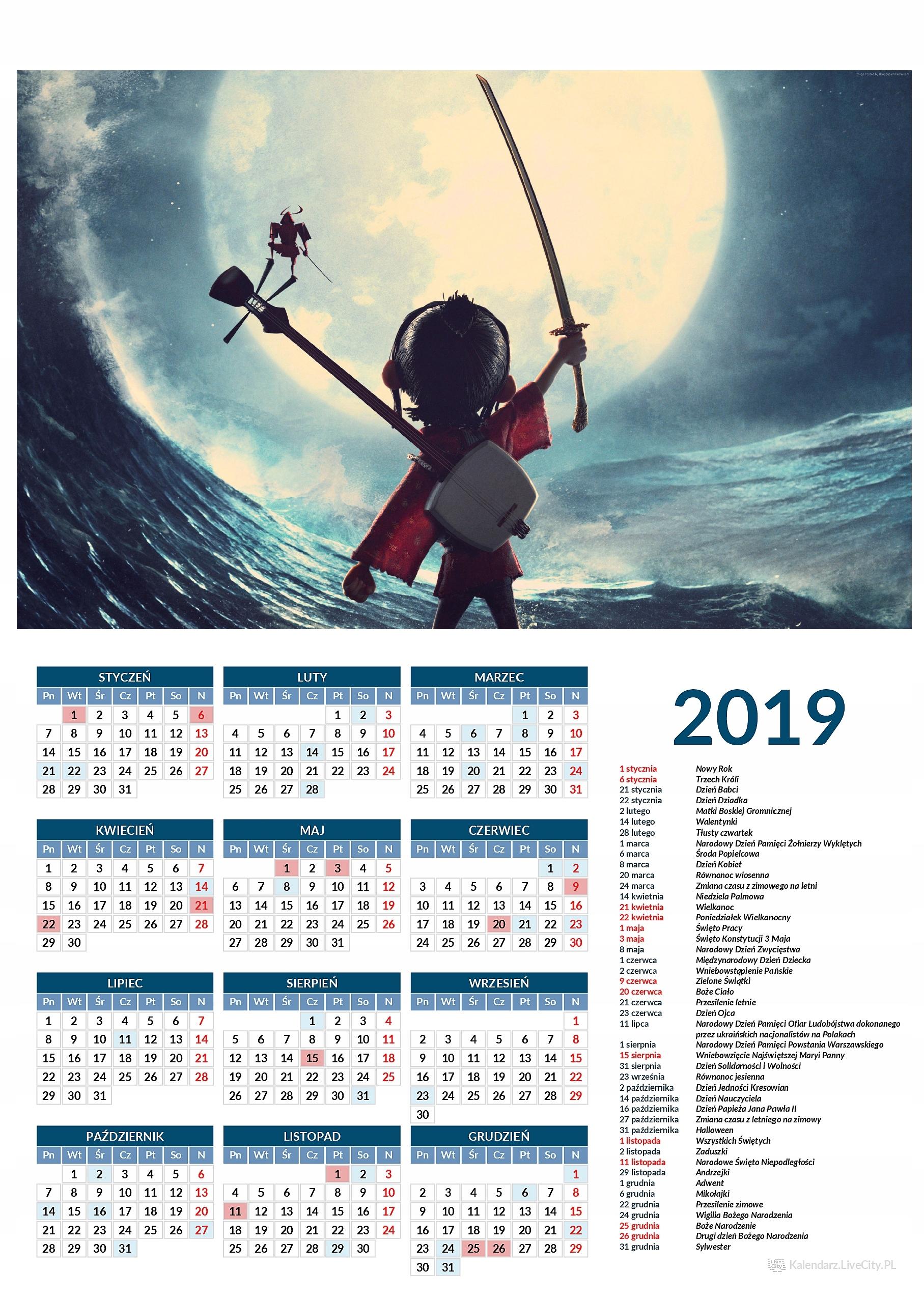 Kalendarz 2019 film kubo i dwie struny