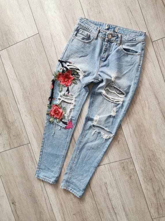Spodnie jeans dziury boohoo 36