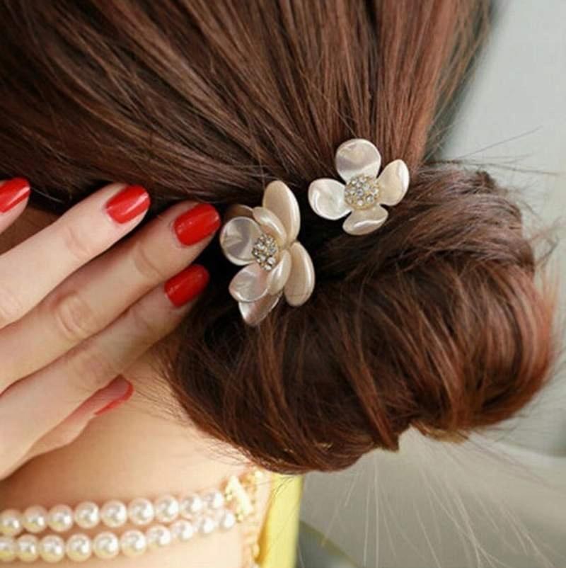 Gumka do włosów perłowy kwiat 2 rodzaje