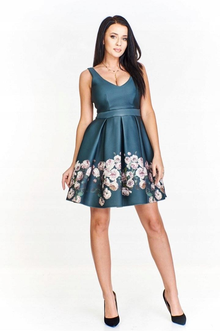 662e2c6d Sukienka rozkloszowana ku dołowi z połyskującej tk