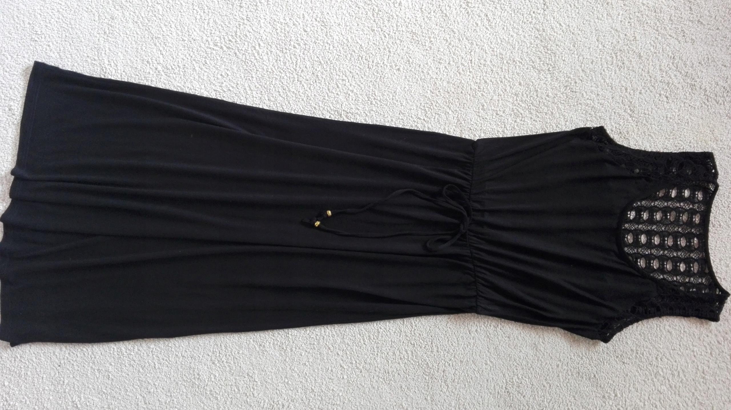 Czarna sukienka maxi koronka boho RIVER ISLAND 38