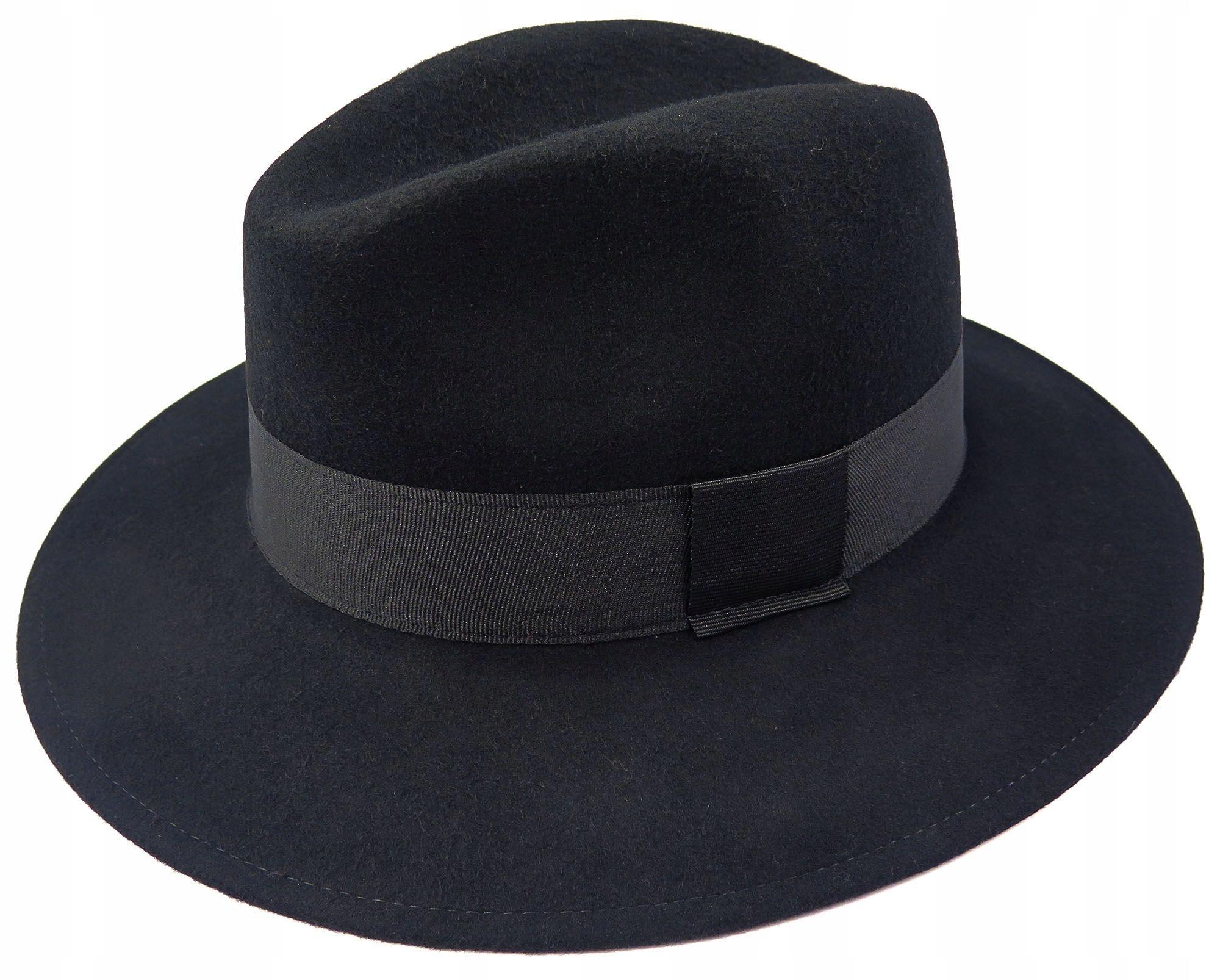 Stylowy czarny kapelusz męski szerokie rondo G2 56