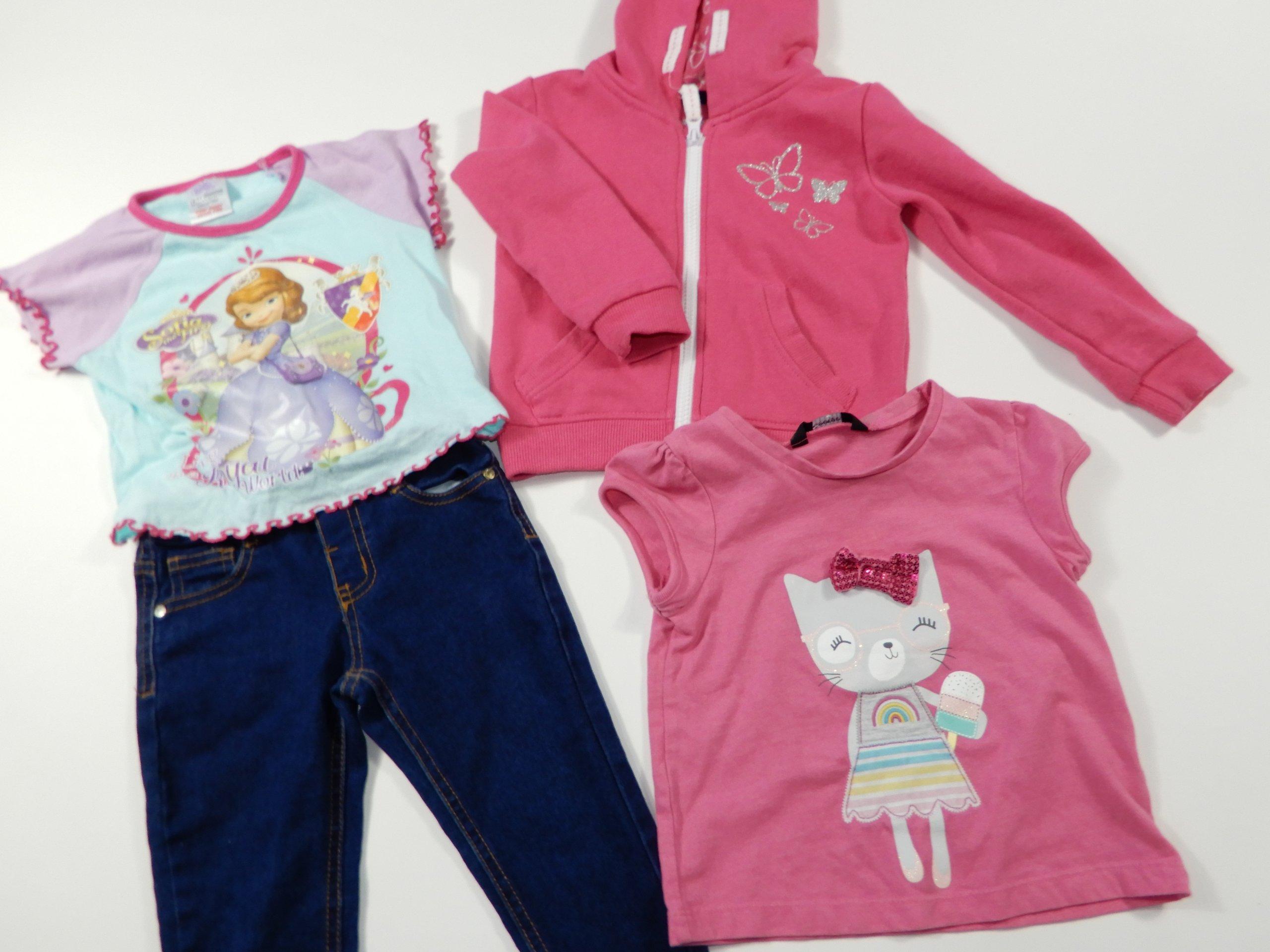 zestaw paczka ubrań dla dziewczynki 2-3 LATA 7SZT