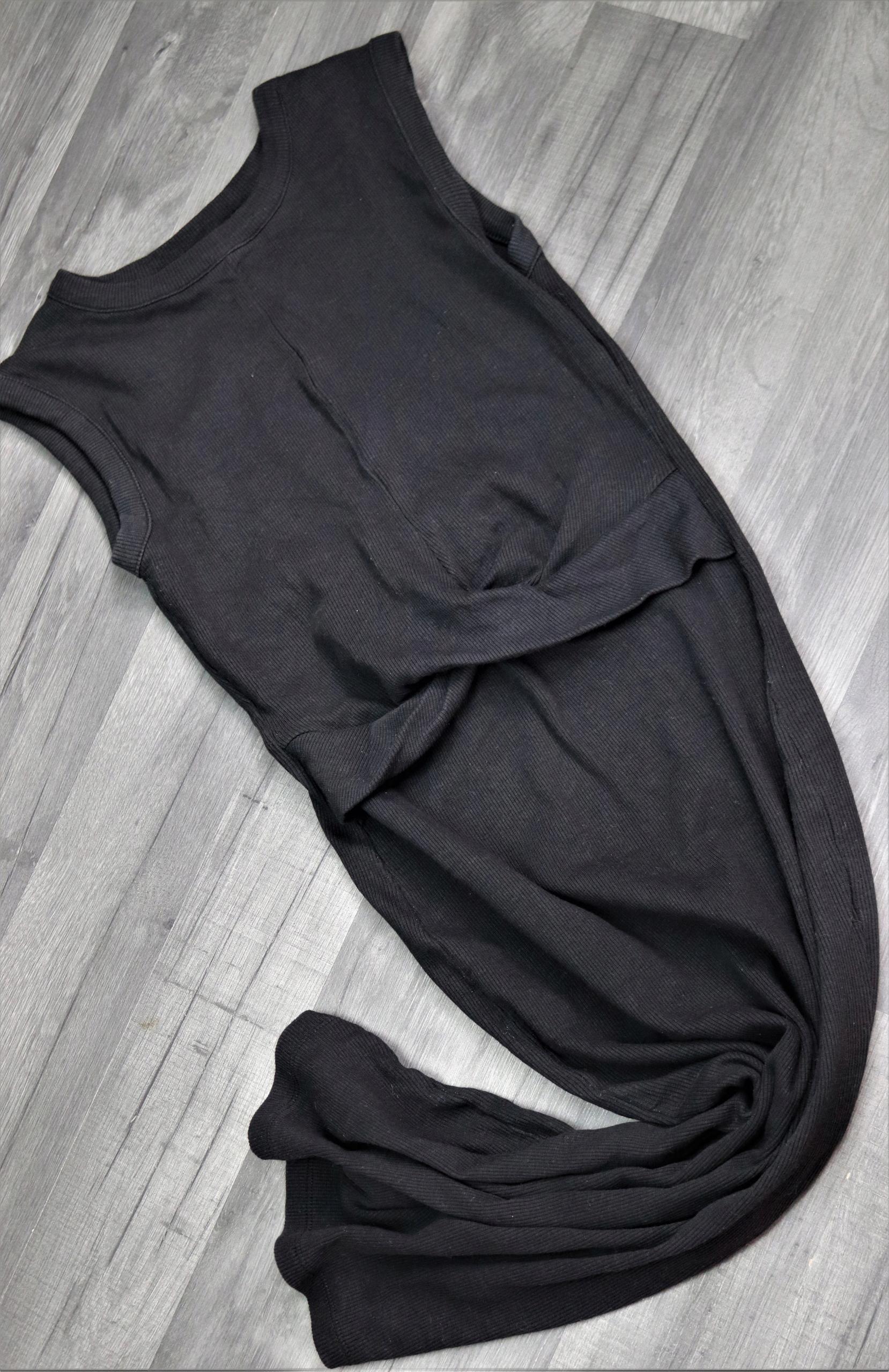 Czarna sukienka w prążki ATMOSPHERE S/M z węzłem
