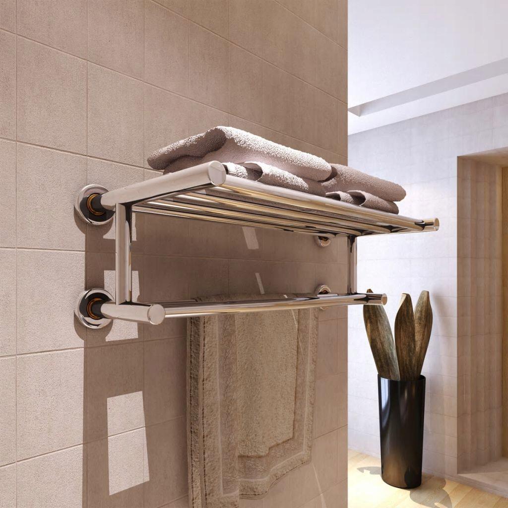 Wieszak Na Ręczniki ścienny Srebrny Do łazienki 7523537115