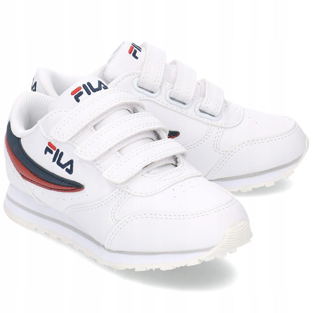 białe sneakersy dziecięce Fila z zapięciem na rzep