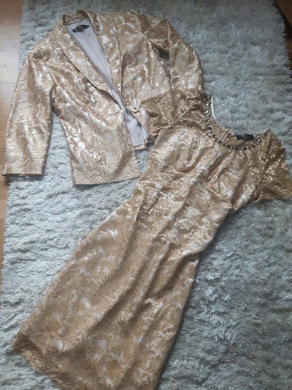 B.P.C. złoty komplet koronka żakiet sukienka 38