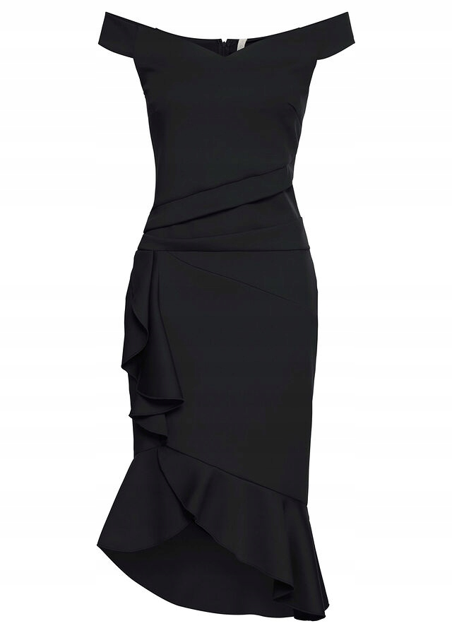 Sukienka z falbanami czarny 40/42 L/XL 915784