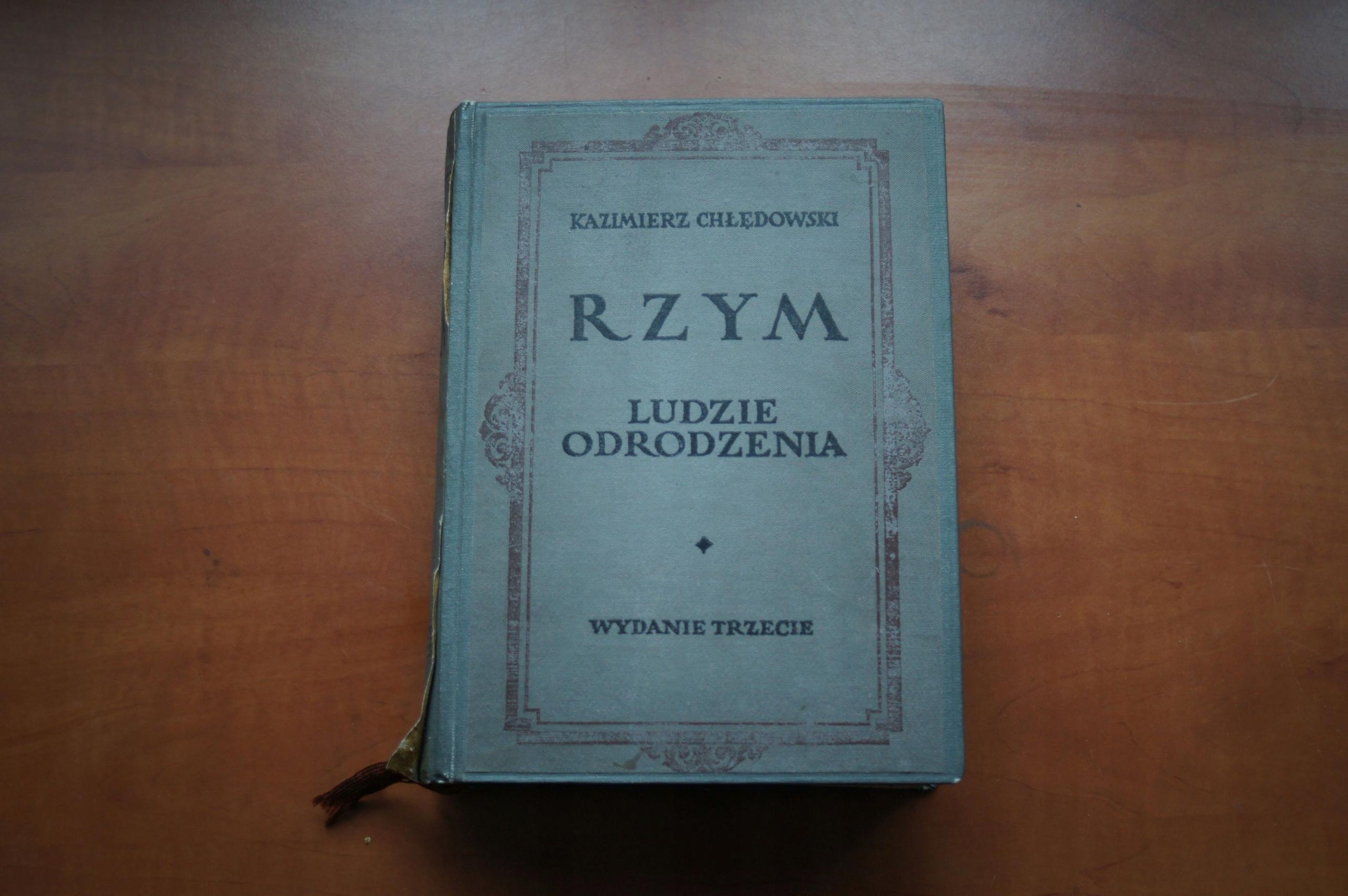 RZYM LUDZIE ODRODZENIA CHŁĘDOWSKI WYD. III 1921