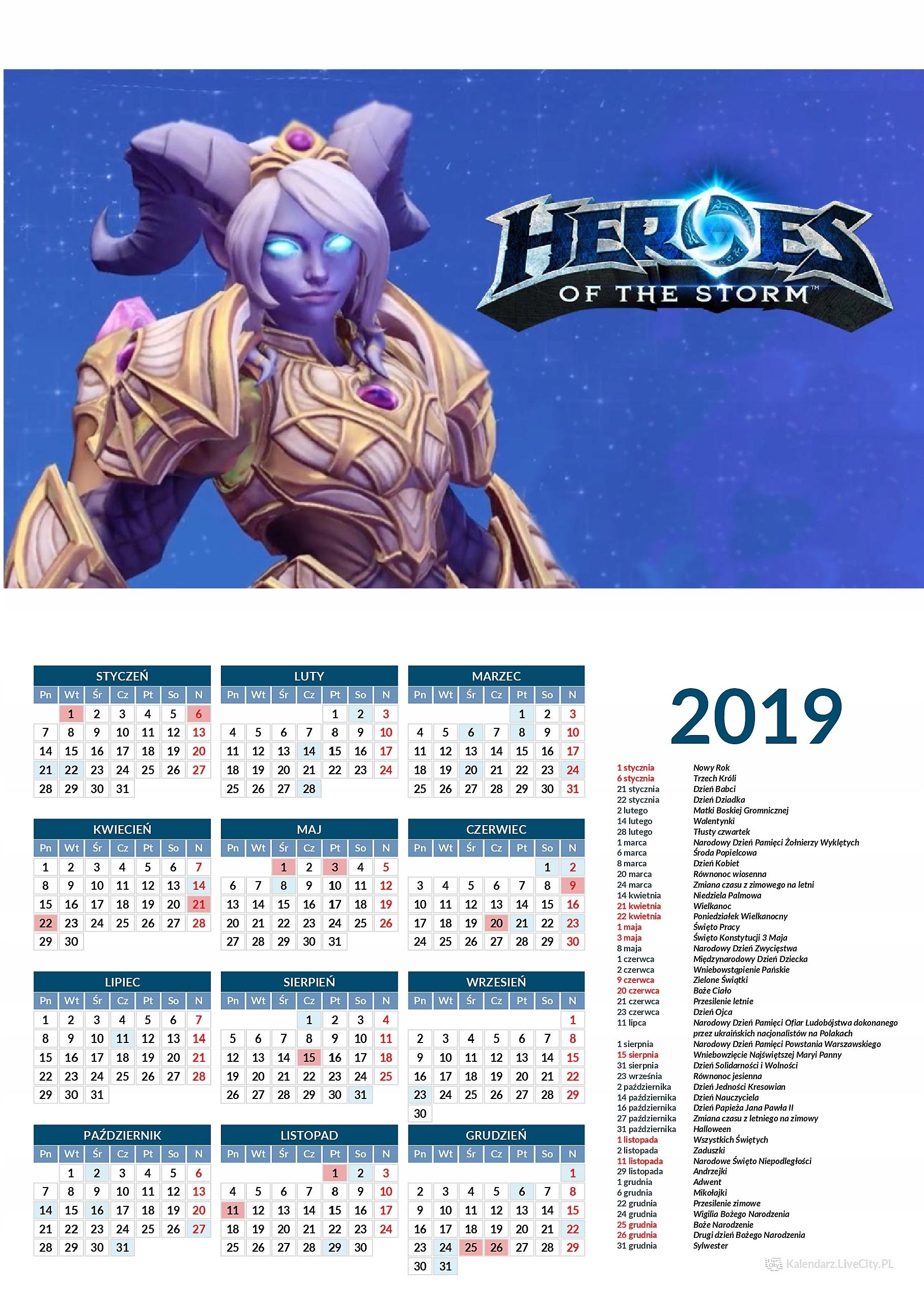 Kalendarz 2019 GRA HEROES OF THE STORM YREL