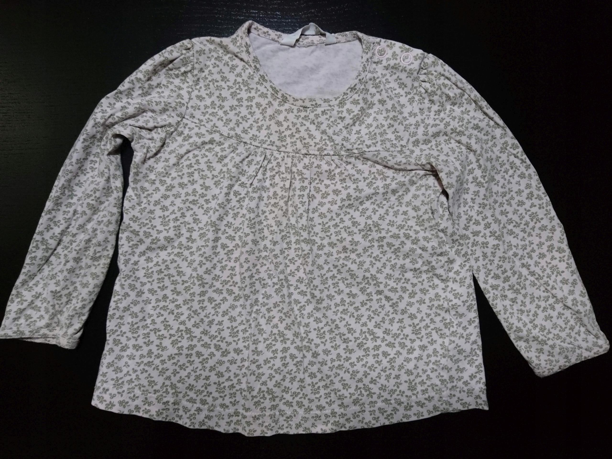 Koszulka tunika h&m r. 74-80 długi rękaw różow