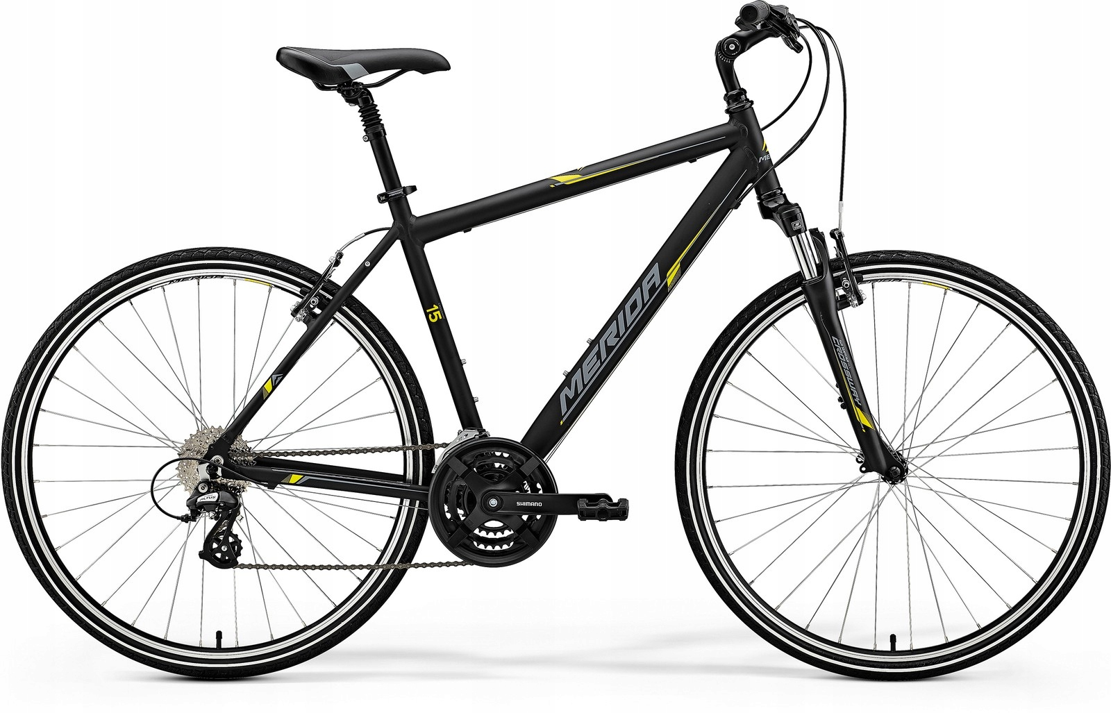 MERIDA CROSSWAY 15-V 52CM MATT BLACK(YELLOW/GREY)