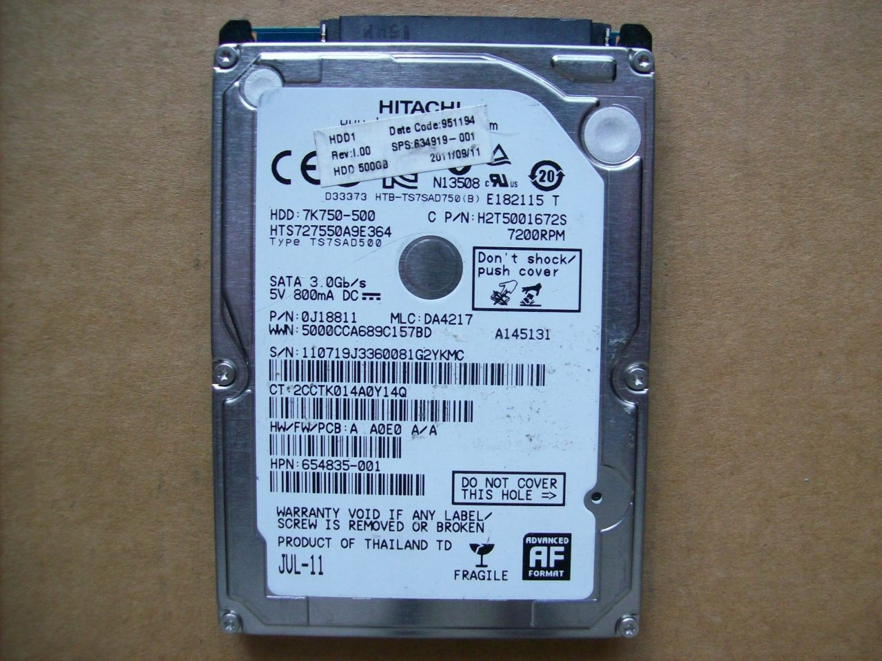 HITACHI 7K750-500 - HTS727550A9E364 - 500GB