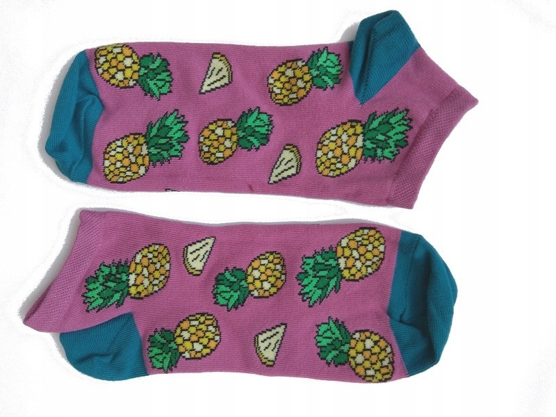 Kolorowe STOPKI Krebo happy DAMSKIE ananasy 35-40