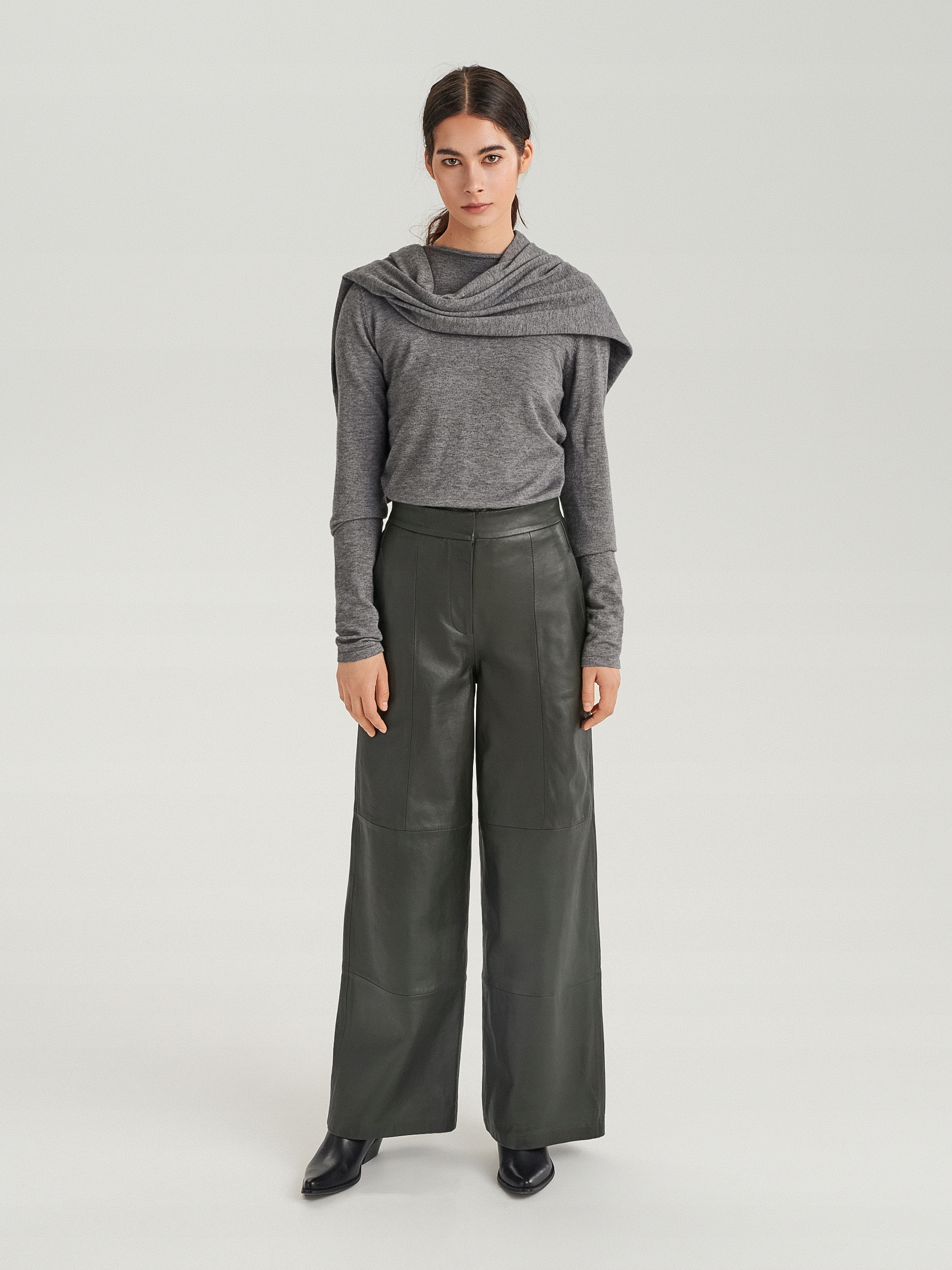 Spodnie Reserved skóra naturalna-L- zara, H&m