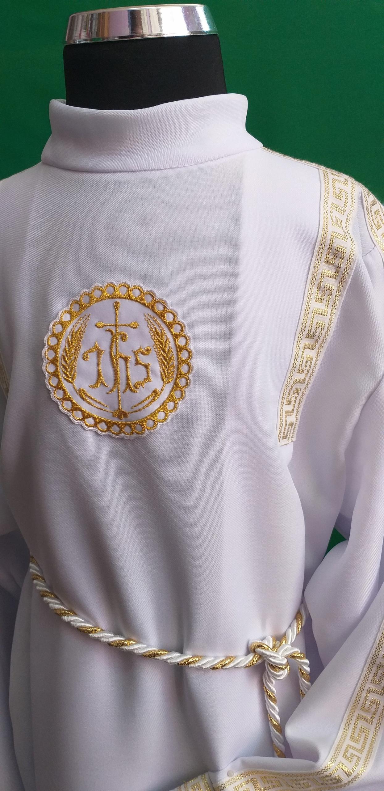 Alba komunia wzór złoty strój komunia M jak Małgos