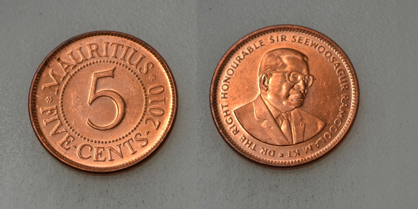 Mauritius 5 Cents 2010 rok BCM