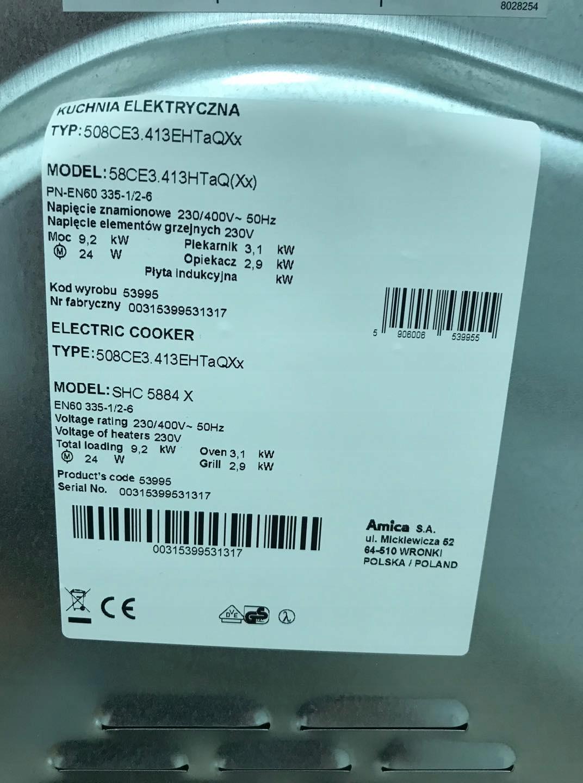 Amica 58ce3413htaqxx Kuchnia Elektryczna 7828791365