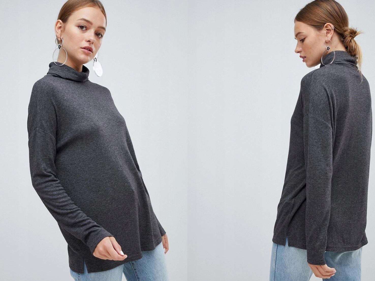 New Look szary sweter z golfem XS/34