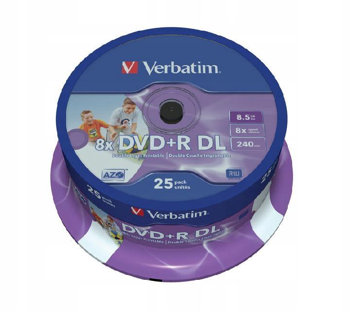DVD+R (8x) 8,5GB DoubleLayer CB 25 PRINTABLE 43667