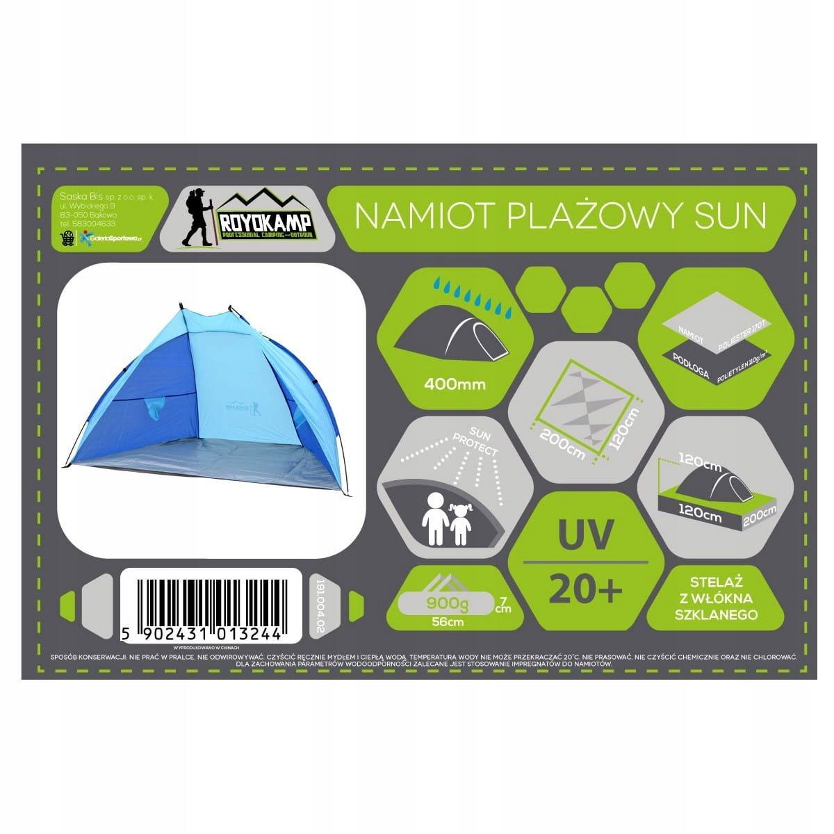Namiot Plażowy Niebieski 200X120X120 Cm Royokamp