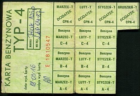 Karta Benzynowa Typ-4. 1988 rok.