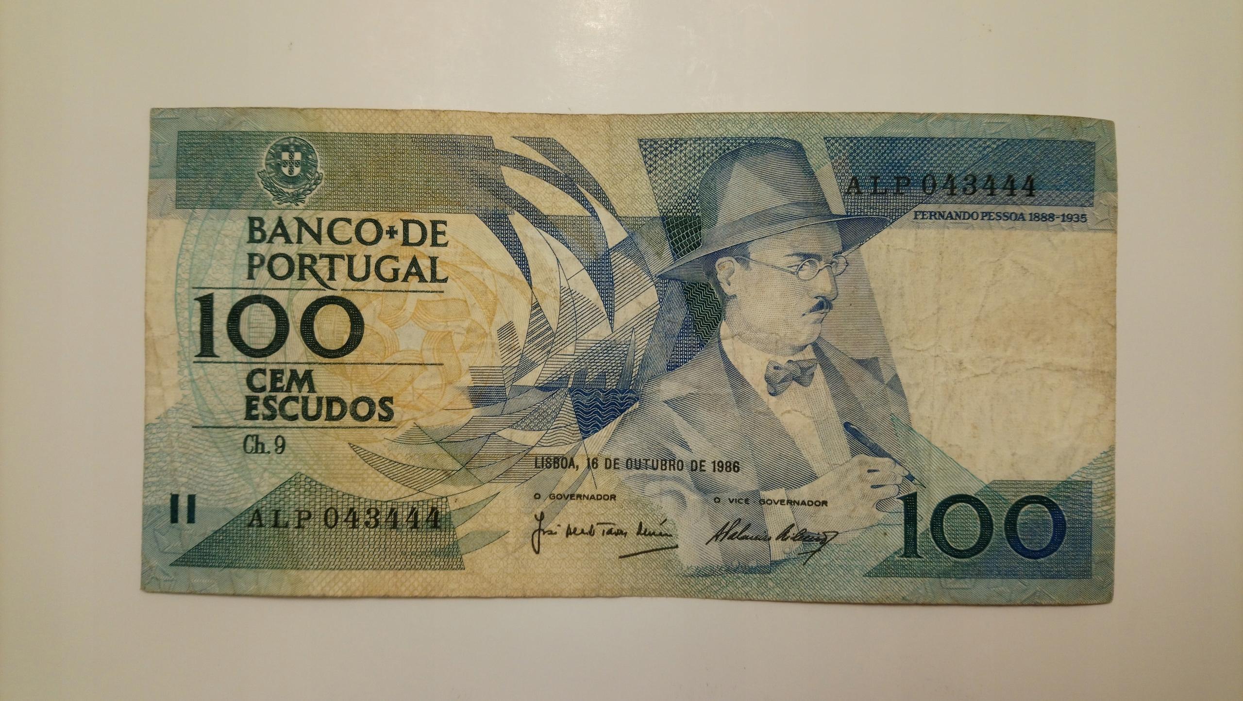 Banknot Portugalia 100 Escudos 1986 rok